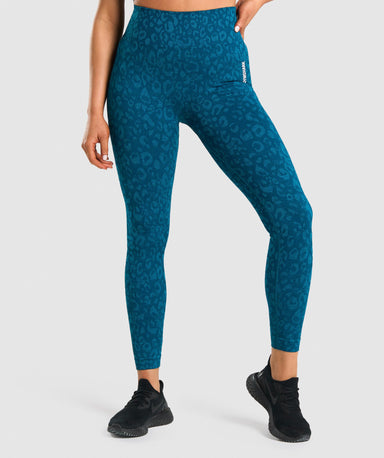 Shop Gymshark Adapt Animal Seamless Leggings - Teal From GS | AROS