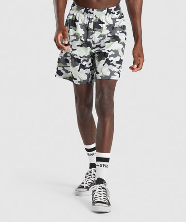 Shop Gymshark Arrival Shorts - Black/Green Camo From GS | AROS