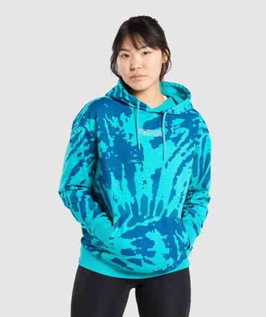 Shop Gymshark Colour Burst Hoodie - Light Teal Print From GS | AROS