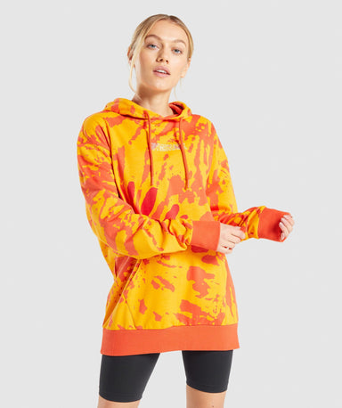 Shop Gymshark Colour Burst Hoodie - Orange Print From GS | AROS