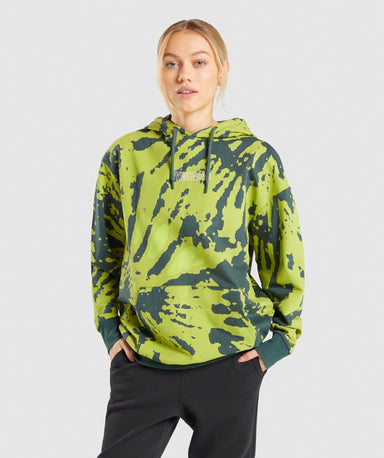 Shop Gymshark Colour Burst Hoodie - Dark Green Print From GS | AROS