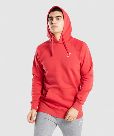 Shop Gymshark Crest Hoodie - Red From GS | AROS