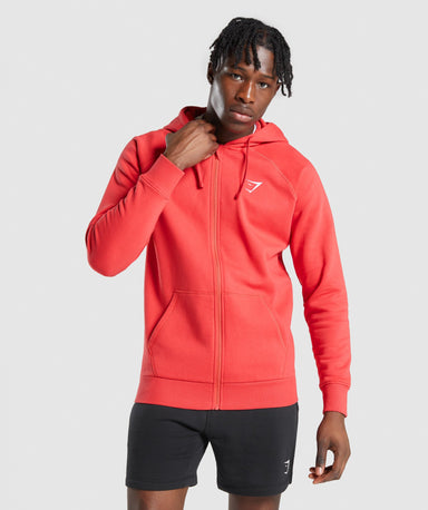 Shop Gymshark Crest Zip Up Hoodie - Red From GS | AROS
