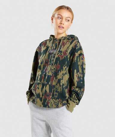 Shop Gymshark Graphic Camo Hoodie - Dark Green Camo From GS | AROS