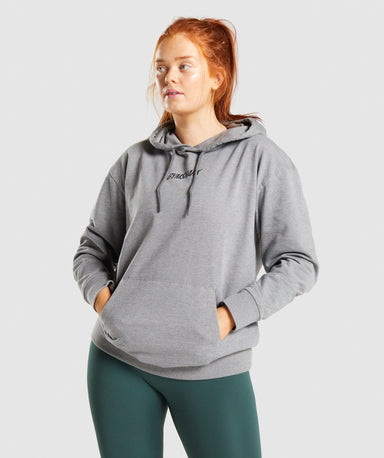 Shop Gymshark Italic Graphic Hoodie - Charcoal Marl From GS | AROS