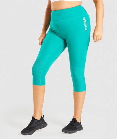Shop Gymshark Pulse Cropped Leggings - Green From GS | AROS