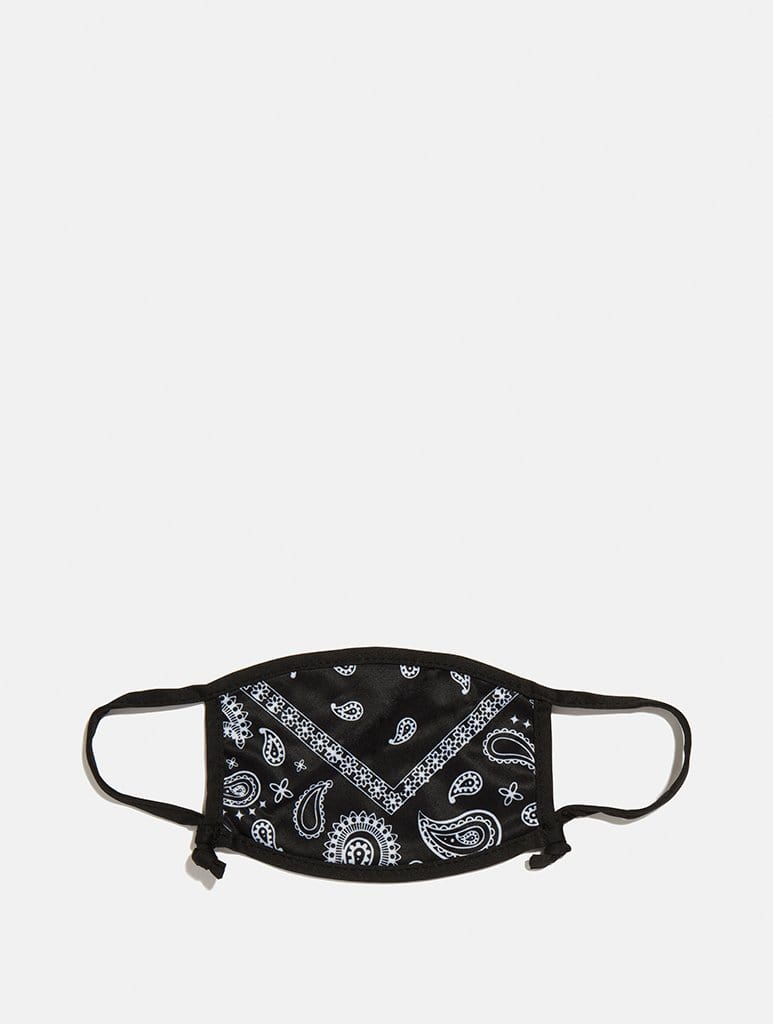 Shop 2 Pack Face Covering in Black Bandana Print & Black From SDL | AROS