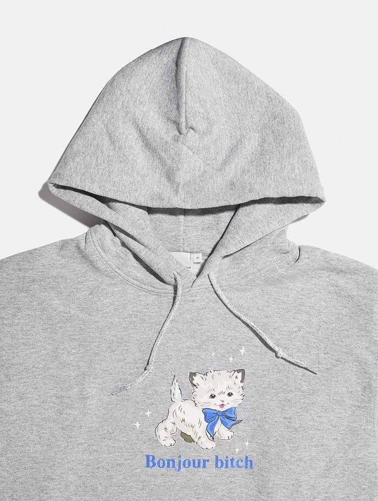 Shop Bonjour Cat Grey Cropped Hoodie From SDL | AROS