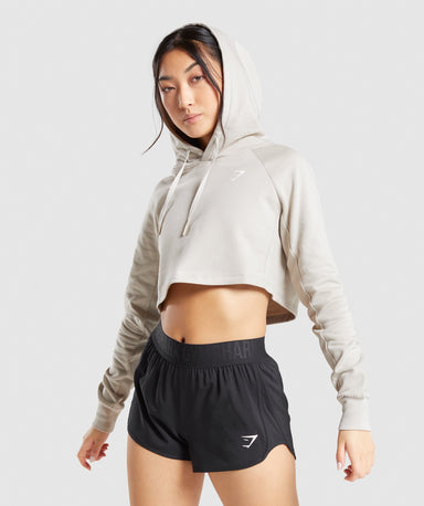 Shop Gymshark Training Cropped Hoodie - Grey From GS | AROS