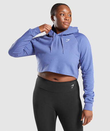 Shop Gymshark Training Cropped Hoodie - Blue From GS | AROS