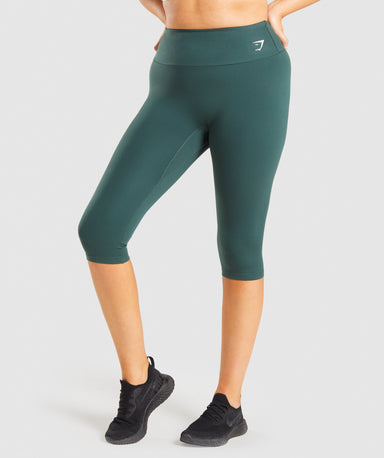 Shop Gymshark Training Cropped Leggings - Dark Green From GS | AROS