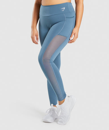 Shop Gymshark Training Mesh Pocket Leggings - Teal From GS | AROS