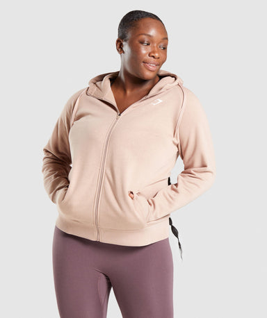 Shop Gymshark Training Zip Up Hoodie - Taupe From GS | AROS