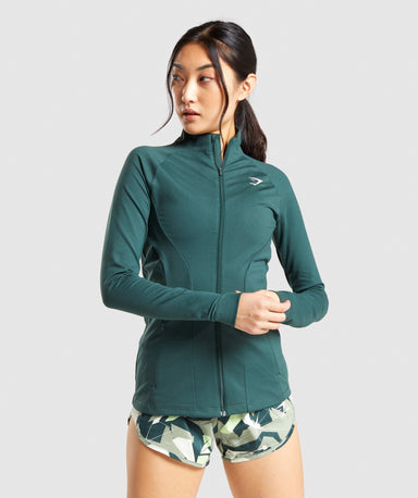 Shop Gymshark Training Zip Up Jacket - Dark Green From GS | AROS