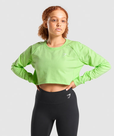 Shop Gymshark Training Cropped Sweater - Green From GS | AROS