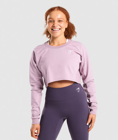Shop Gymshark Training Cropped Sweater - Light Purple From GS | AROS