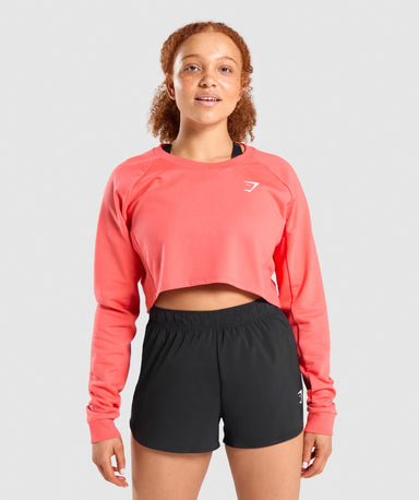 Shop Gymshark Training Cropped Sweater - Orange From GS | AROS