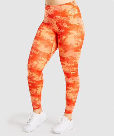 Shop Gymshark Training Leggings - Orange Camo Print From GS | AROS
