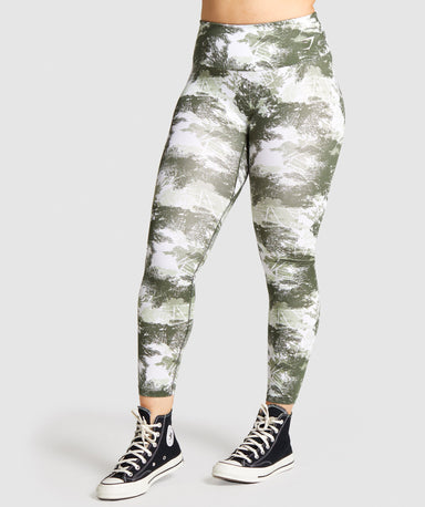 Shop Gymshark Training Leggings - Green Camo Print From GS | AROS