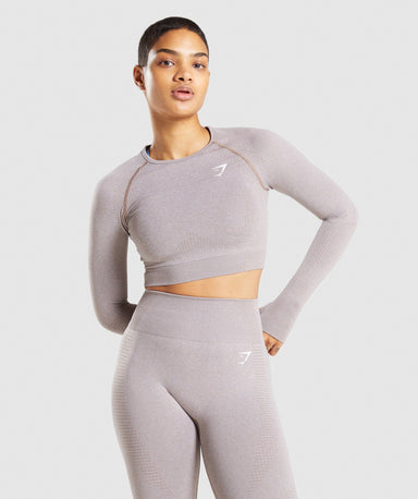 Shop Gymshark Vital Seamless 2.0 Long Sleeve Crop Top - Taupe Marl From GS | AROS