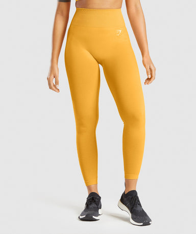 Shop Gymshark Vital Seamless 2.0 Leggings - Yellow Marl From GS | AROS