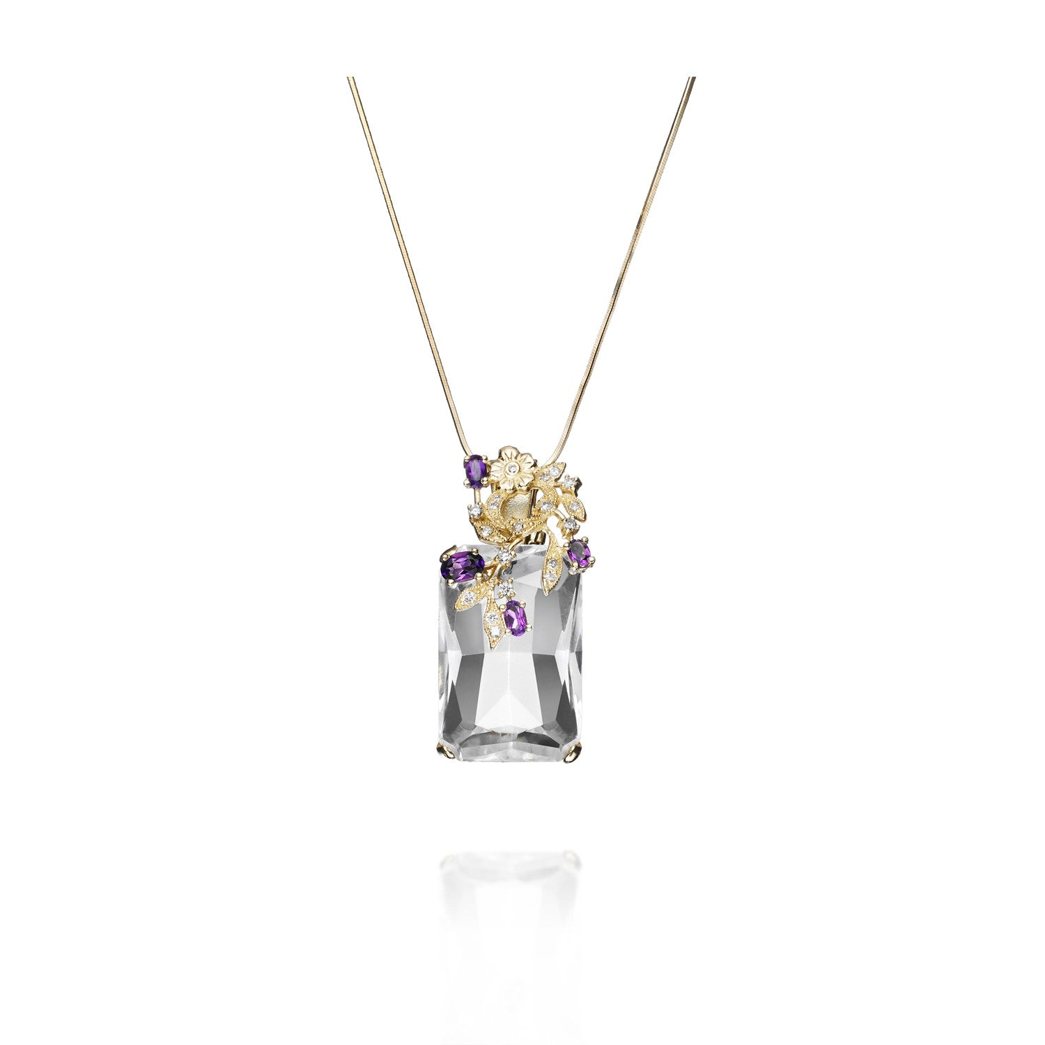 Signature Pendant Necklace with Amethyst, gold and diamonds