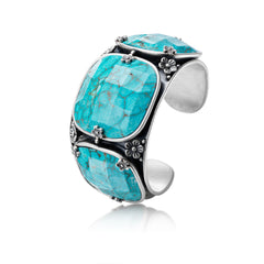 Triple Turquoise and Sterling Silver Cuff Bracelet