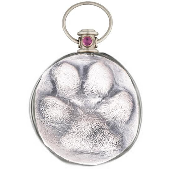 Sterling Silver Dog Paw Pendant with Fancy Birthstone Bale