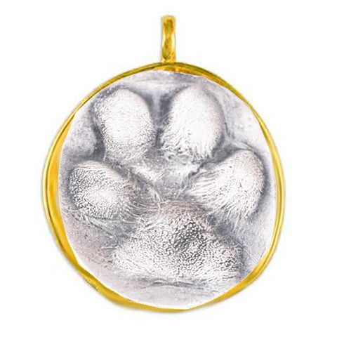 Sterling Silver Dog Paw Pendant with Gold Bezel