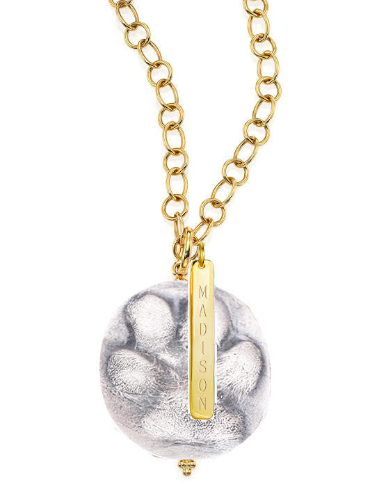Sterling Silver Dog Paw Pendant Necklace with Gold Name Plate