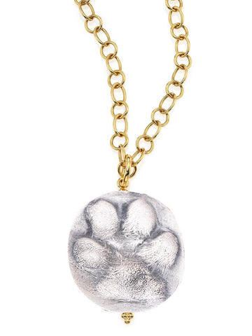 Sterling Silver Dog Paw Pendant Necklace with Custom Gold Chain