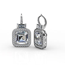 Load image into Gallery viewer, Square Blue Topaz Lever Back Earrings