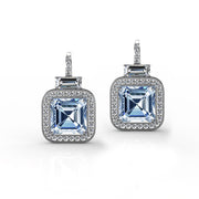 Square Blue Topaz Lever Back Earrings