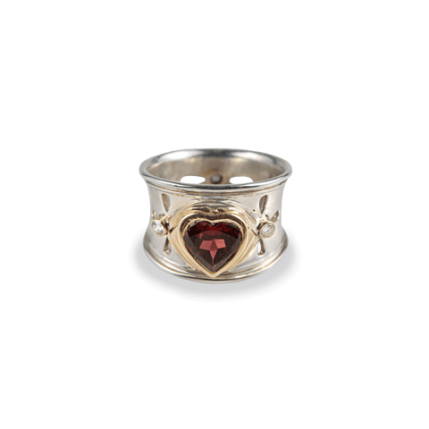 Heart Garnet Diamond Wide Band Ring