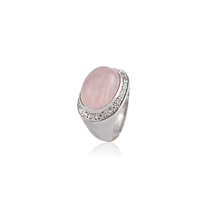 Rose Quartz Sterling Silver Oval Ring