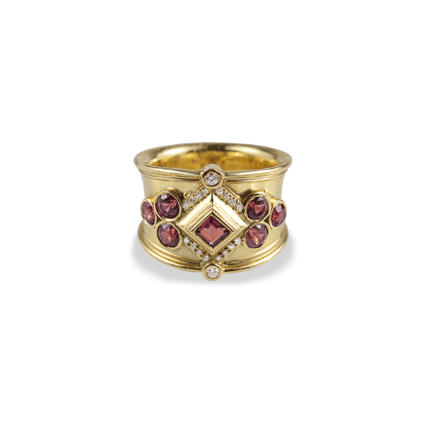 Diamond Ruby Gold Wide Band Ring