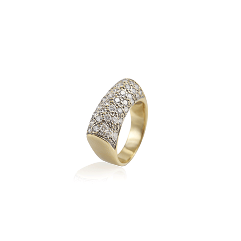 Diamond Pave Gold Bar Ring