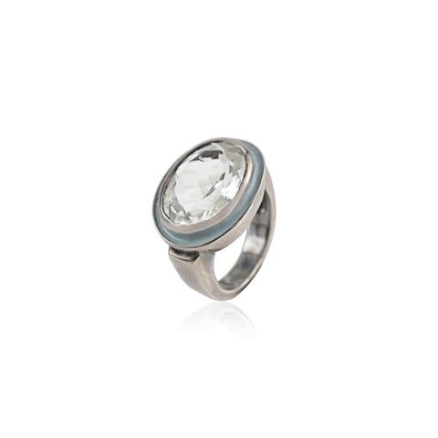 Genuine Prasiolite & Enamel  Sterling Silver Ring