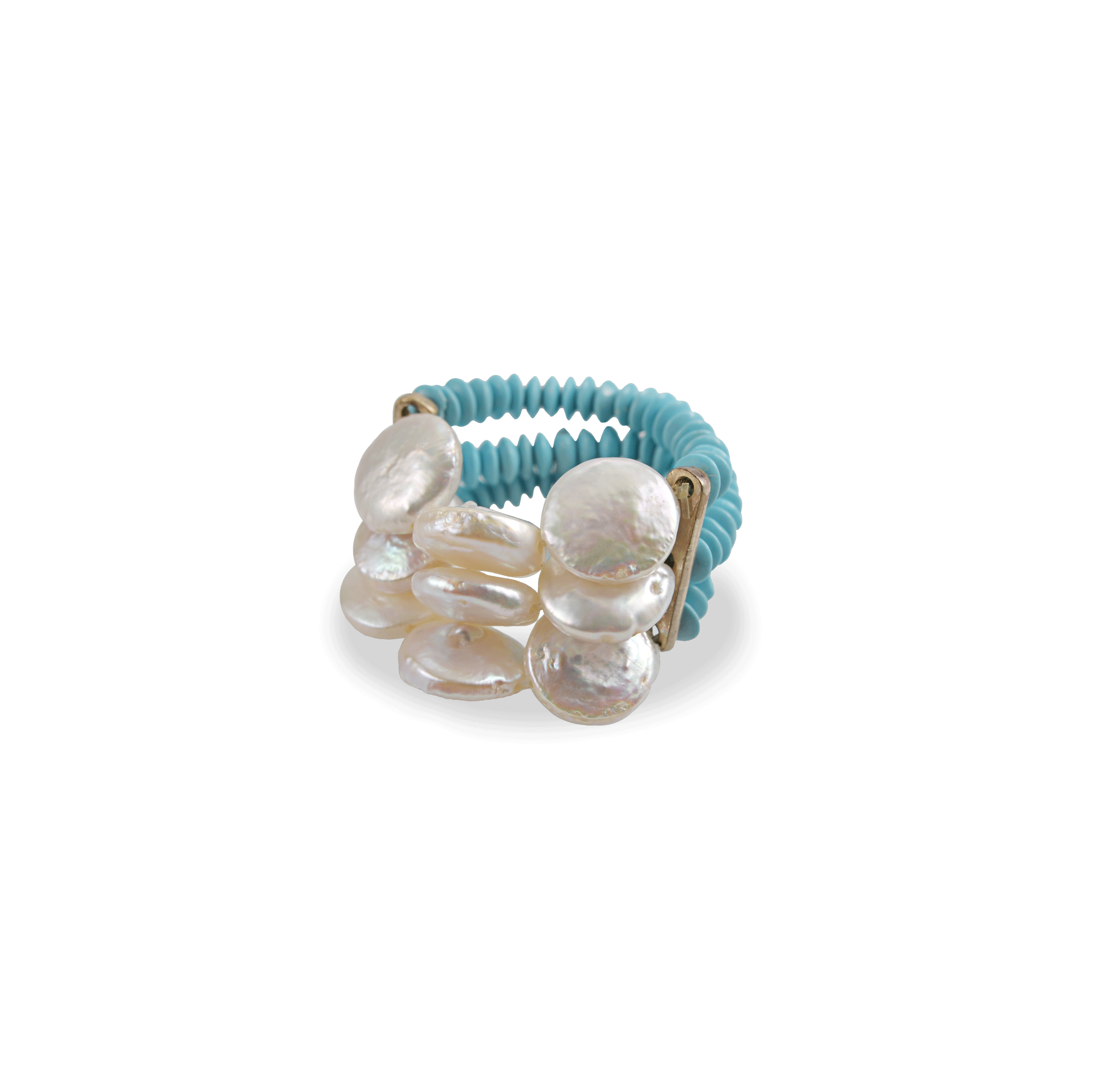 Triple Turquoise Stretch Pearl Ring