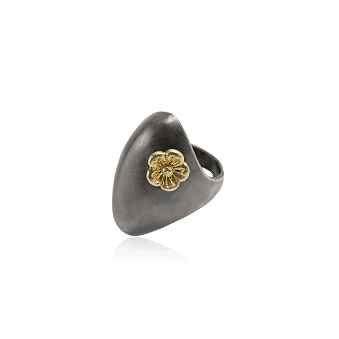 Antiqued Sterling Silver Gold Flower Ring