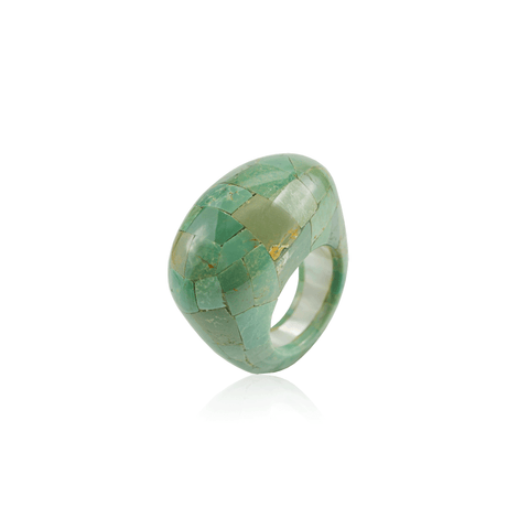 Pieced Turquoise Mother of Pearl Ring