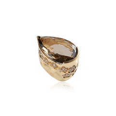Smoky Teardrop Floral Ring