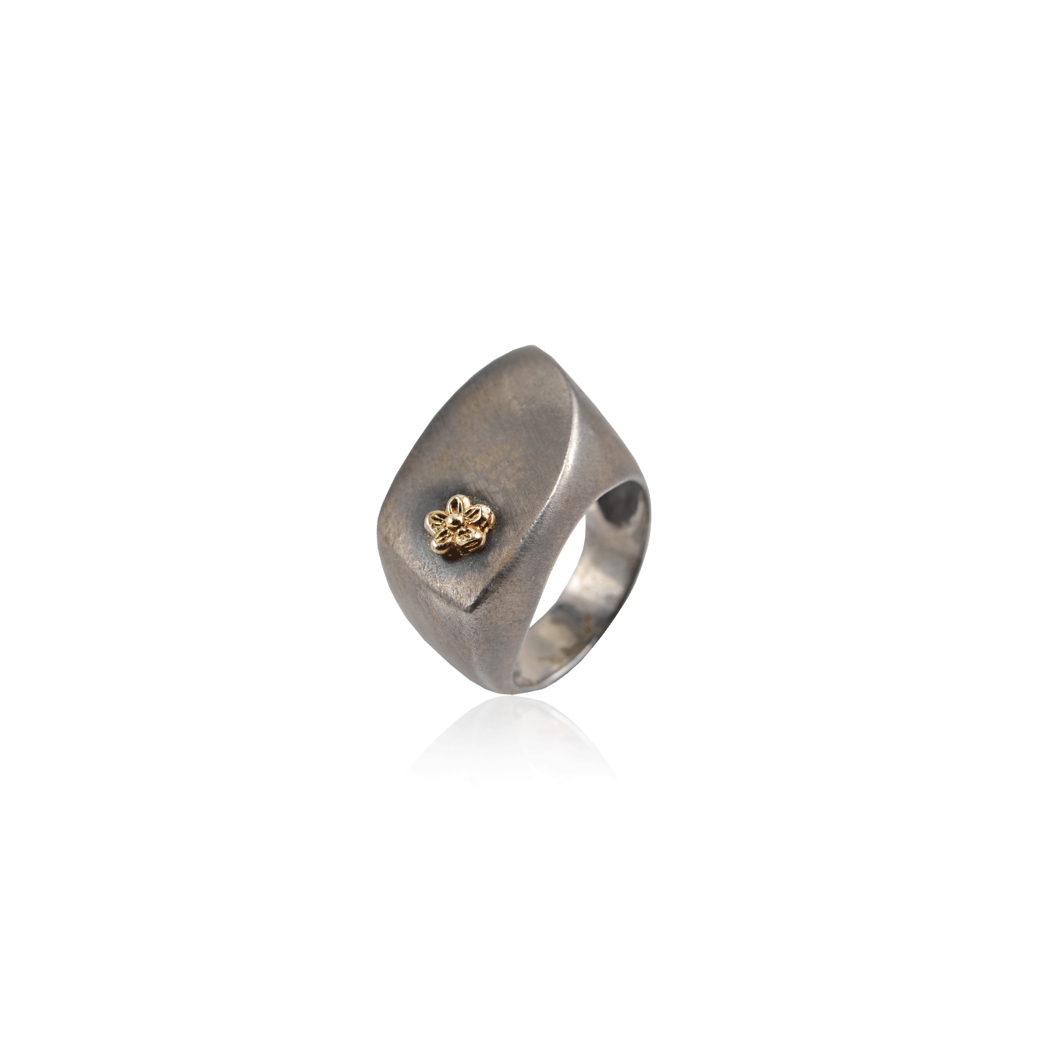 Asymmetrical Sterling Silver Flower Ring