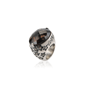 Smoky Topaz Sterling Silver Floral Etched Ring