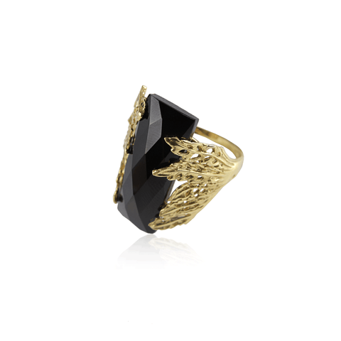 Black Onyx Yellow Gold Leaf Ring