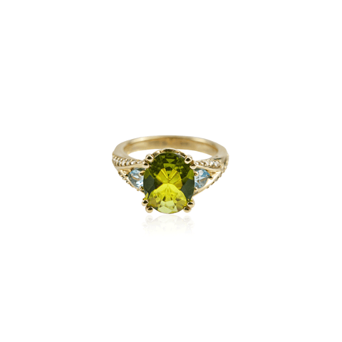 Peridot Blue Topaz Diamond Yellow Gold Ring