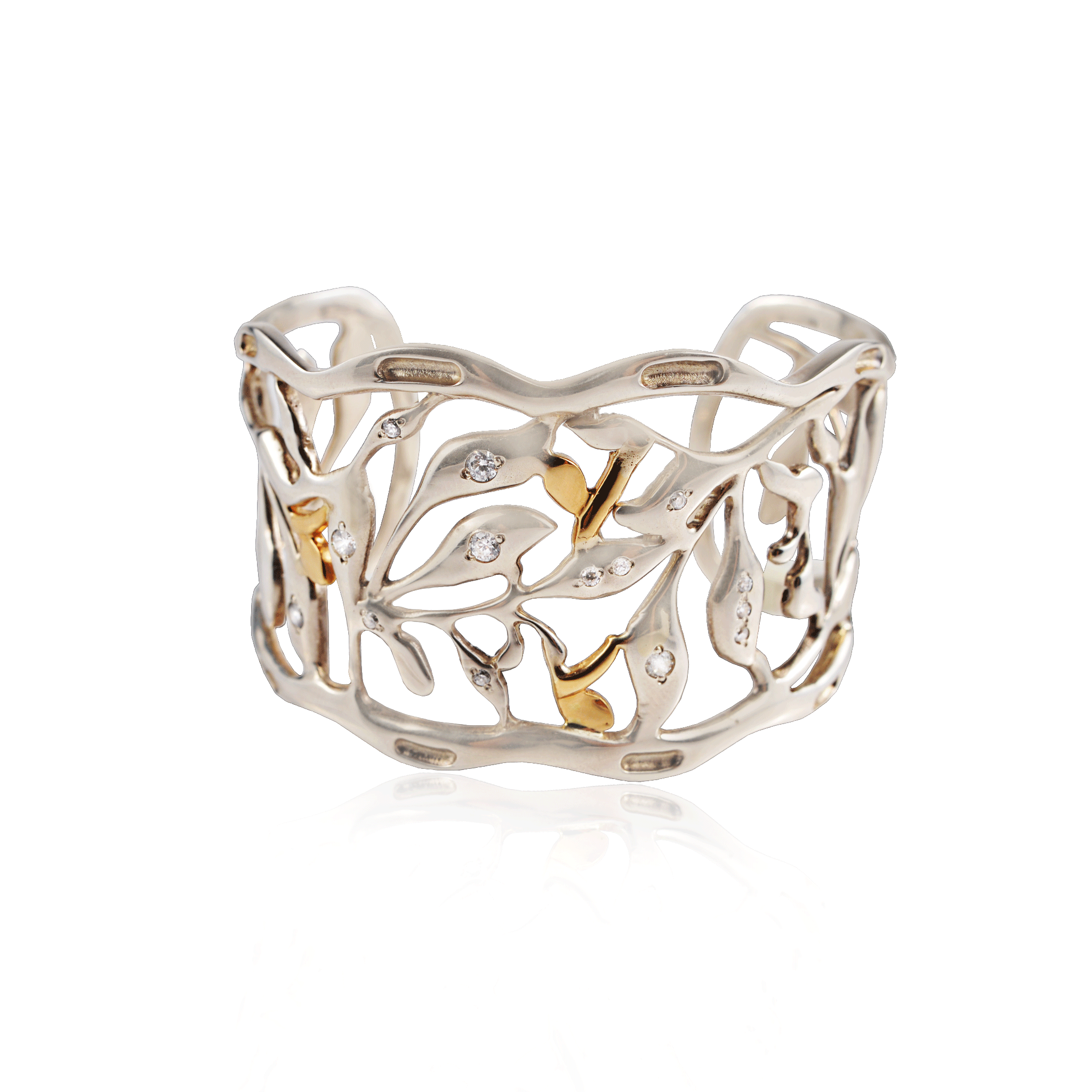 Sterling Silver Yellow Gold Leaf Cuff