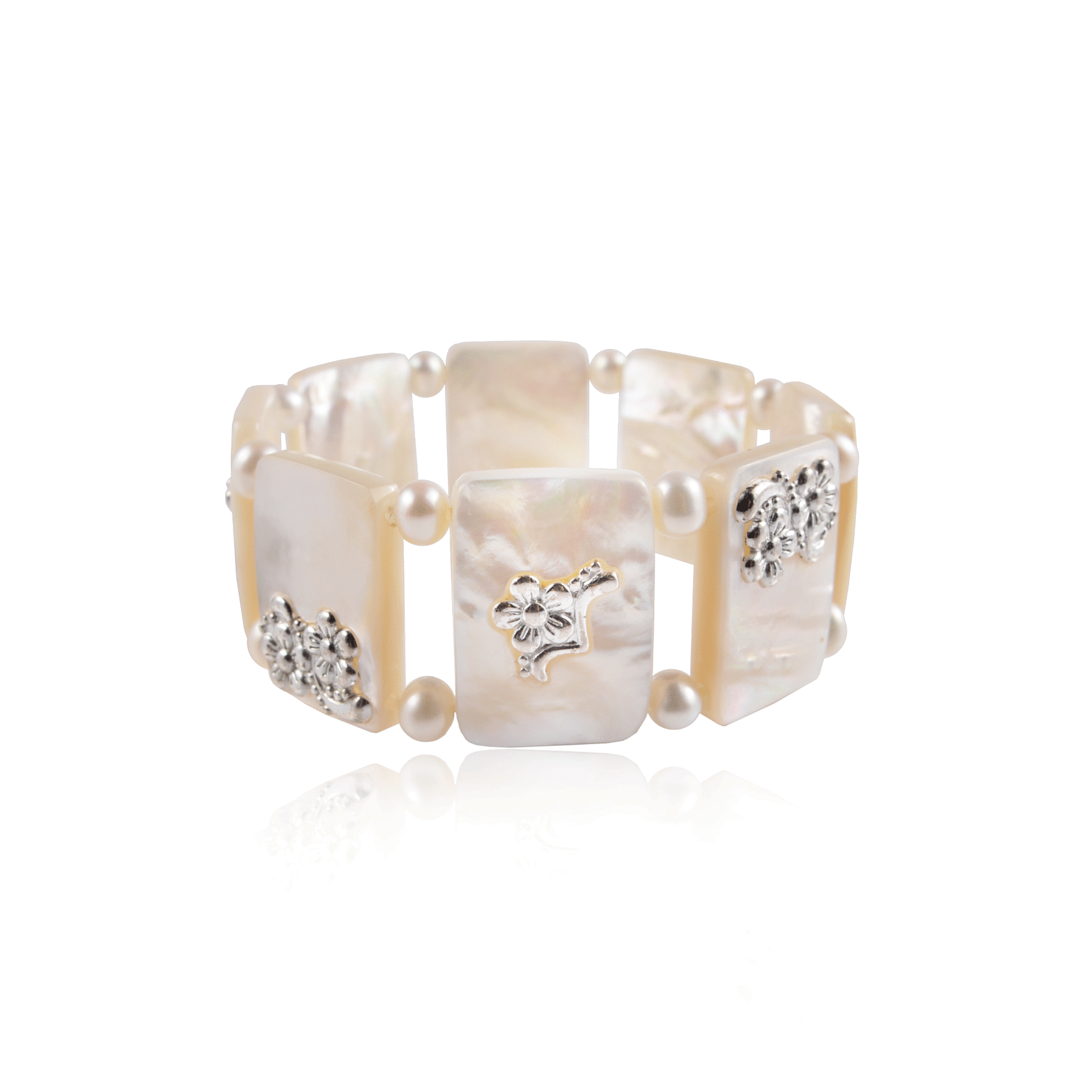 Square Floral Mother of Pearl Stretch Bracelet