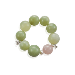 Large Green Agate Stretch Beaded Bracelet