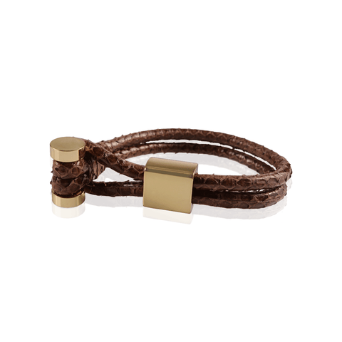 Brown Snake Skin Toggle Bracelet